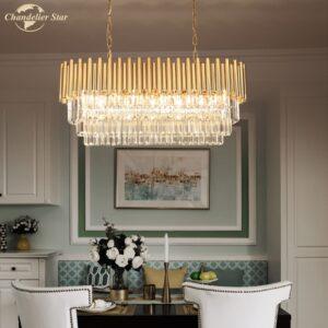 Modern Rectangle Crystal Chandeliers Lighting American Style LED Metal Lustre Lamp for Living Room Bedroom Dining Room 1