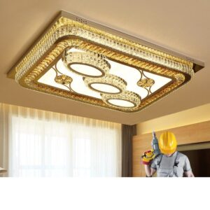 Crystal lamp Ceiling Flush Chandelier with 3 lighting modes 1