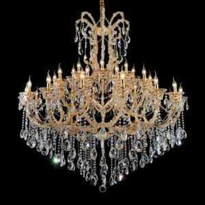 Modern Iron & Crystal Chandelier Clear Golden LED Chandeliers Pendant Lamp Hanging Light for Living Dining Room Home Decoration 1