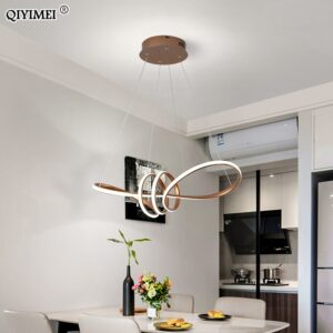 Gold Painted Led Pendant Lights Dining Living Room Kitchen Modern Lighting Lamp Fixture Remote Control AC85-260V Luminaria Avize 1