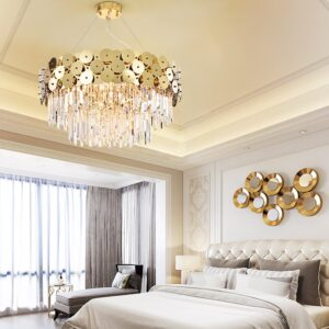 LED Postmodern Oval Round Golden Stainless Steel Crystal Chandelier Lighting Lustre Suspension Luminaire Lampen For Dinning Room 1