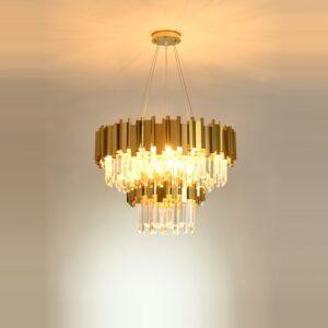 2 Layer Gold Chrome Crystal LED Hanging Chandelier 1