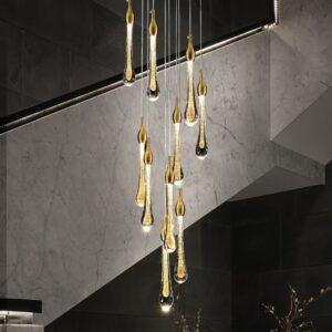 Art Deco Golden Clear Glass Water Drop LED Chandelier 1