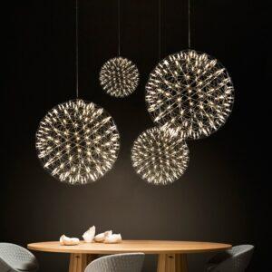 Stainless steel spark ball led chandelier 1