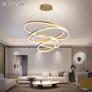 New Design Coffee/Gold Modern LED Pendant Lights For Living Room Hall Dining Kitchen Bar Home Lighting Decoration Pendant Lamps 1