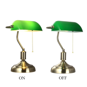 Green Glass Bankers Lamp Shade table lamp