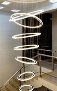 K9 Crystal Luxury LED Chandelier Rotating Stairs Multi-Rings Postmodern Hanging Lamp Living Room Kitchen Island Big Chandeliers