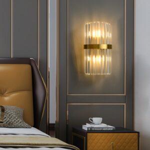 Postmodern Stainless Steel Crystal Golden LED Wall lamp 1