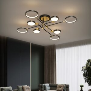 Modern Black Golden Led acrylic Chandelier with Rings and Pads  1
